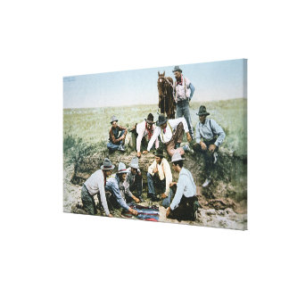 Postcard depicting cowboys gambling shooting craps canvas print