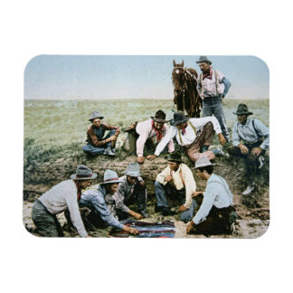 Postcard depicting cowboys gambling shooting craps magnet