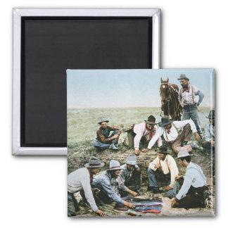 Postcard depicting cowboys gambling shooting craps fridge magnet