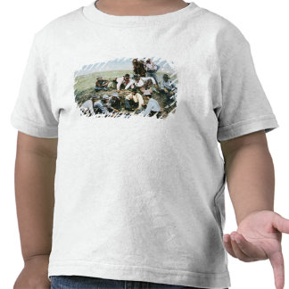 Postcard depicting cowboys gambling shooting craps shirt