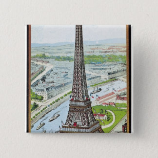 Postcard depicting the Eiffel Tower 15 Cm Square Badge
