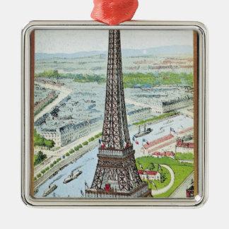 Postcard depicting the Eiffel Tower Christmas Ornament