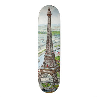 Postcard depicting the Eiffel Tower 21.6 Cm Skateboard Deck