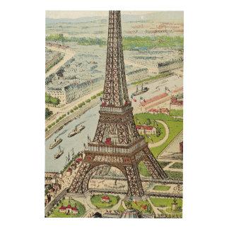 Postcard depicting the Eiffel Tower Wood Wall Art