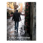Postcard - Dog Walking in Trastevere (colour)