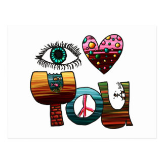 Postcard, Eye Heart You, Painted Doodle Postcard