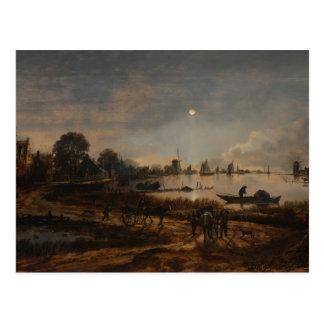 Postcard fine art river van der Neer