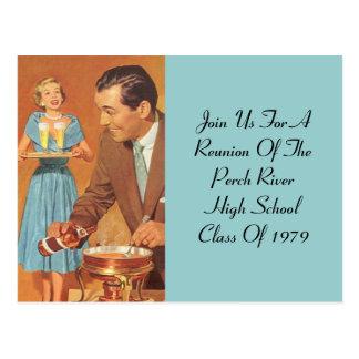 Postcard  Fondue Party Retro Vintage Class Reunion