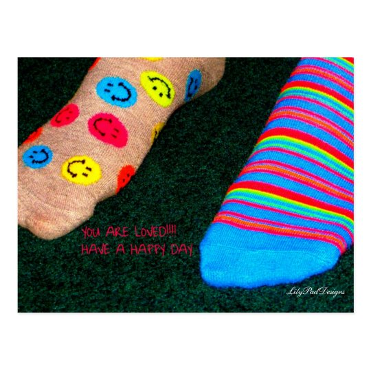 Postcard for a teen expressing love Happy Feet