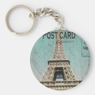 Postcard From Paris EIffel Tower Basic Round Button Key Ring