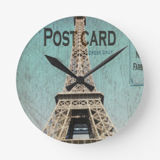 Postcard From Paris EIffel Tower Round Clock