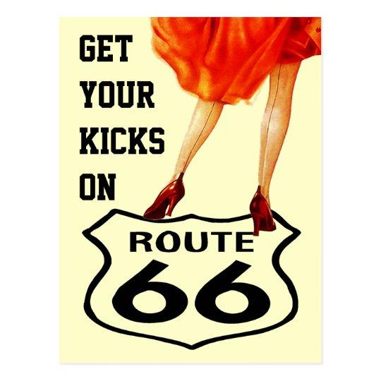 Postcard GET YOUR KICKS ON ROUTE 66 Retro