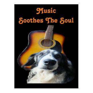Postcard Guitar Dog