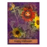 Postcard Happy Halloween Smiling Sunflower Pumpkin
