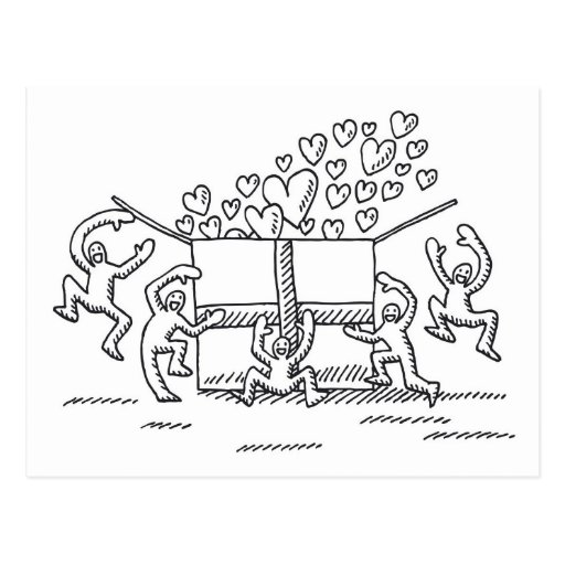 Postcard Happy Love People Gift Box Drawing