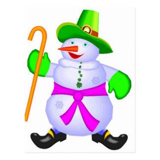 Postcard-Irish Snowman Christmas Postcard