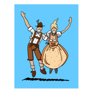 Postcard Jumping Oktoberfest Couple