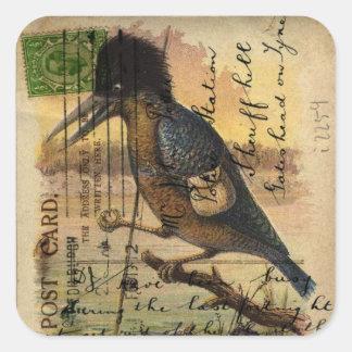 Postcard Kingfisher Square Sticker