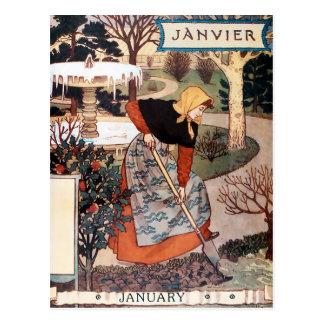 Postcard: Month of January - Janvier Postcard