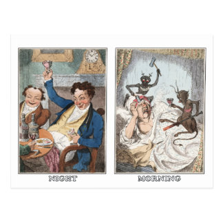 Postcard:  Night - Morning - Antique Caricature Postcard