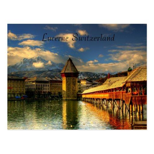 Postcard of Lucerne Switzerland Chapel Bridge