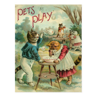 Postcard Pets at play. Vintage
