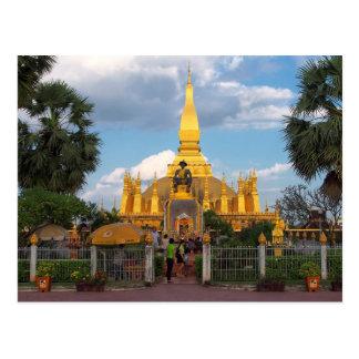 Postcard Pha Than Luang stupa Vientiane Laos