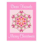 Postcard Pink and Orange Snowflake