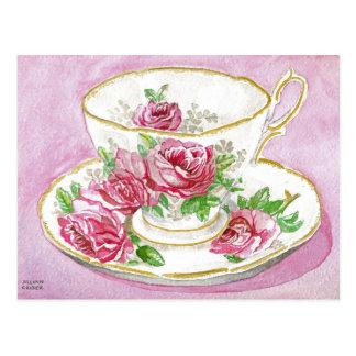 Postcard - Pink Floral Rose Watercolor Teacup