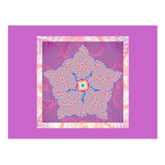 Postcard - Purple Star Fractal Pattern