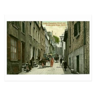 Postcard, Quebec City, Little Champlain Street