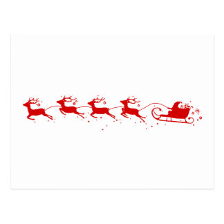 Postcard Reindeers and Santa Claus