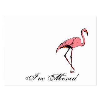 Postcard Retro I've Moved New Address Flamingo PC
