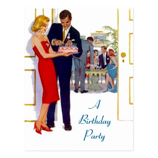 Postcard Retro Stylish Birthday Party Invitations