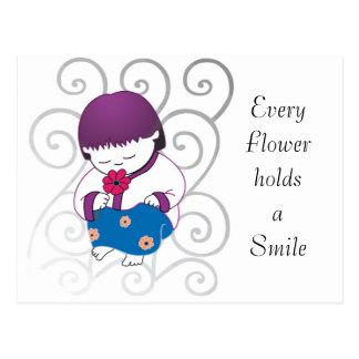 PostCard Sarong Girl Flower Smile