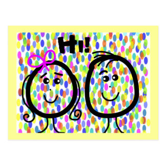 Postcard Smily Faces Hi! Colorful Dots