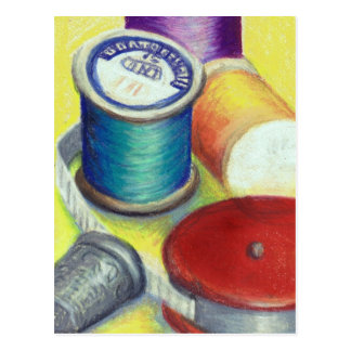 Postcard - Spools of thread for the Quilter Sewer
