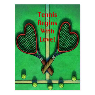Postcard Sports Players Tennis Begins With Love!