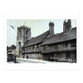 Postcard, Stratford-upon-Avon, Grammar School