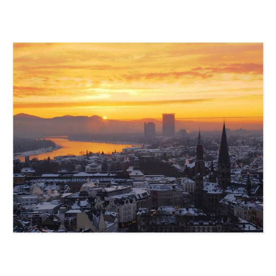 Postcard Sunrise above Bonn in Germany