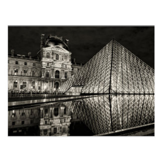Postcard The Louvre Pyramid In Black/White Paris