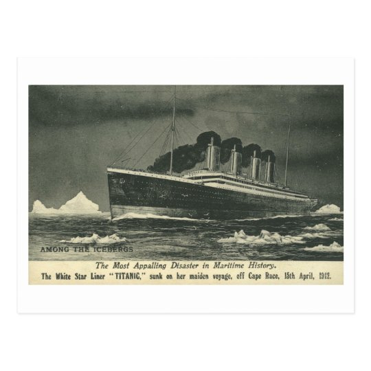 Postcard THE TITANIC 'Among the Icebergs' in 1912