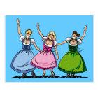 Postcard Three Happy Oktoberfest Dirndl Women