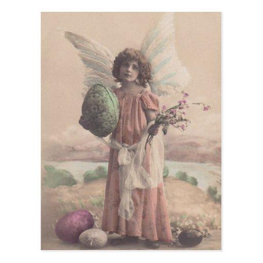 Postcard Vintage Antique Easter Egg Angel & Roses