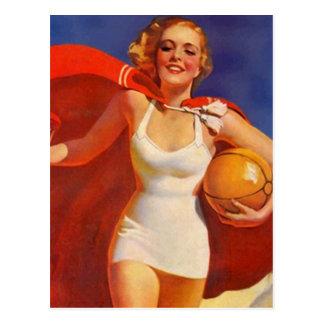Postcard Vintage Beach Travel Vacation Lady PC