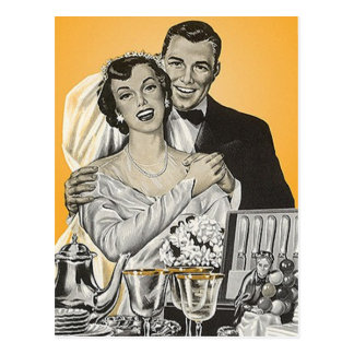 Postcard Vintage Happy Bride Groom Couple Wedding