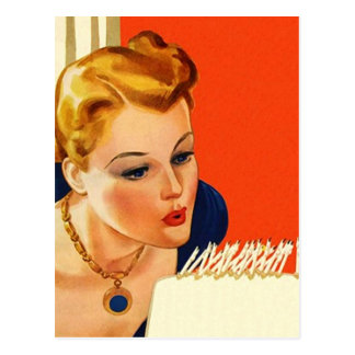 Postcard Vintage Retro Birthday Party Cake Blow PC
