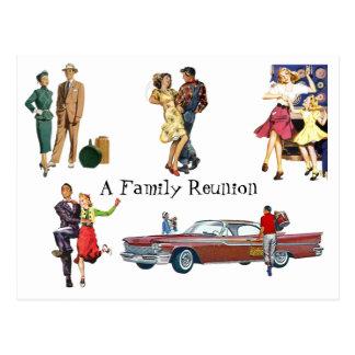 Postcard Vintage Retro Festive Fun Family Reunion