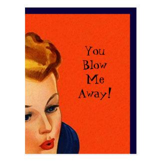 Postcard Vintage Retro You Blow Me Away Greeting
