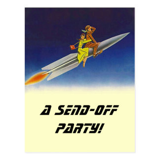 Postcard  Vintage Rocket Send-Off Party Invitation